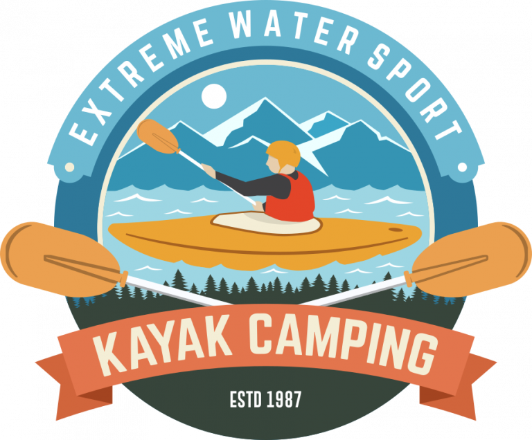 Kayak Camping Badge Design klein